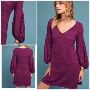 Anthropologie-Maeve-Purple Lace Crochet Dress